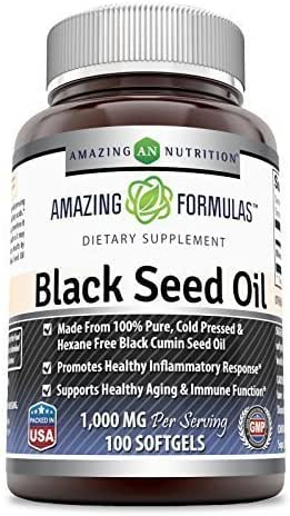 Amazing Nutrition Amazing Formulas Black Seed Oil Natural Dietary Supplement - Cold Pressed Black Cumin Seed Oil from 100% Genuine Nigella Sativa - 1000 Mg 100 Softgels