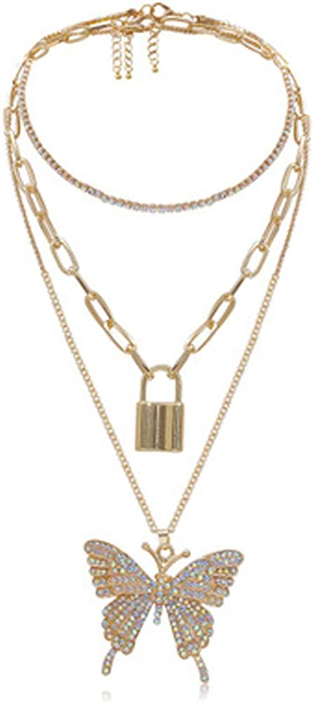 Women Rhinestone Butterfly Necklace Cuban Link Chain Choker Hip Hop Jewelry Gift
