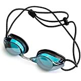 Anti-Fog Juniors Racing Swimming Goggles - by Proswims with Quick Adjustable Elastic Bungee Strap, Hard Case and Bonus Swim Goggles Microfiber Cleaning Cloth