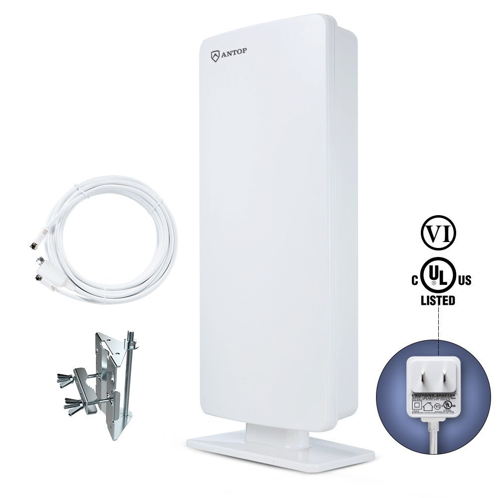Outdoor TV Antenna-ANTOP Flat Panel TV Antenna 65 Miles Multi-directional for Indoor/ Mobile Use with 40ft Detachable Coaxial Cable, Waterproof, UV Coating, and New Design(AT-400)