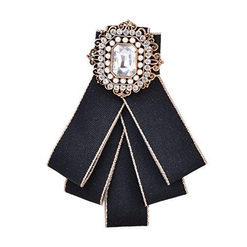 Fenni Ladies Girl Bowknot Bow Tie Suit Shirt Tie Pins Necktie Pin Brooch Pre-tied Bow (Black (Necktie Pin)
