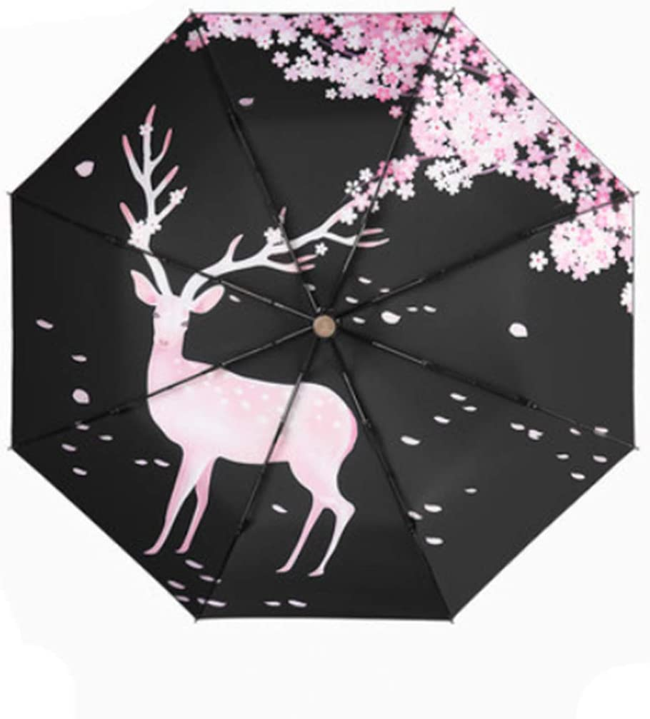 Color : Black Alfredch Sunscreen Umbrella Sun Umbrella Black UV Protection Portable Windproof Deer Pattern Womens Folding