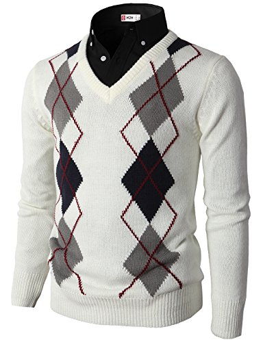 H2H Mens Casual Slim Fit Pullover Argyle Pattern Long Sleeve Sweater White US M/Asia L (L/s Pullover Sweater)