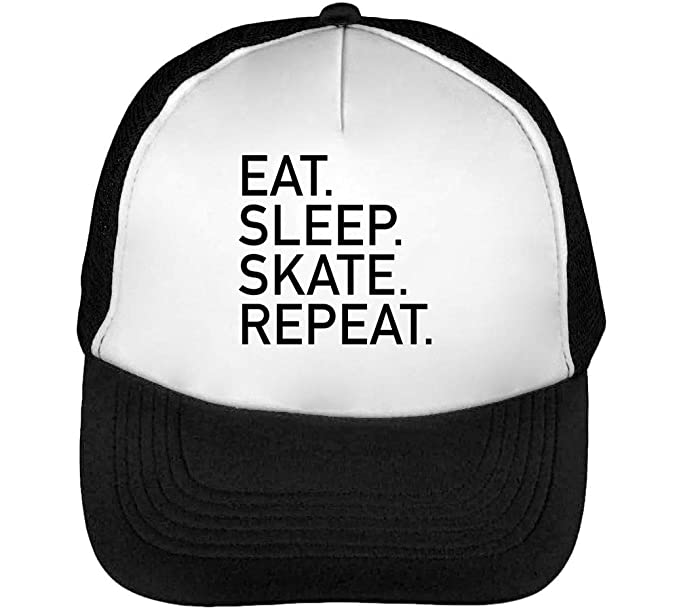 Eat Sleep Skate Repeat Black Fonted Slogan Gorras Hombre Snapback Beisbol Negro Blanco: Amazon.es: Ropa y accesorios
