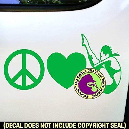 PEACE LOVE SPRINGBOARD DIVER FEMALE Vinyl Decal Sticker A