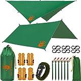RainFlyEVOLUTION 10 x 10 ft Hammock Waterproof RAIN Fly Tent TARP 170' Centerline & Survival Bracelet Kit - Lightweight - Backpacking Approved - Perfect Hammock Shelter Sunshade for Camping (Black)