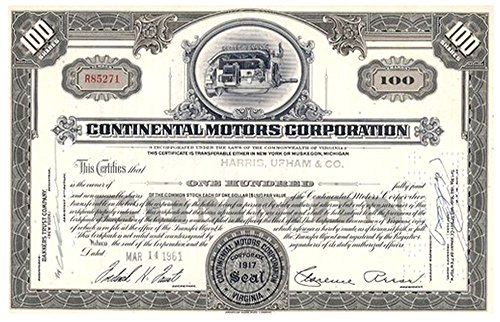 1961 CONTINENTAL MOTORS STOCK w AWESOME OLD AIRPLANE ENGINE! RARE VINTAGE AVIATION/AUTOMOTIVE! $150 ELSEWHERE 100 Shares Uncirculated