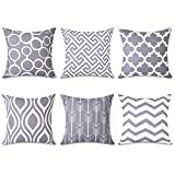 Topfinel Grey Cushion Cover Canvas Decorative Square Throw Pillow Cases for Sofa Bedroom 18 x 18 Inch, with Invisible Zipper 45cm x 45cm,Set of 6