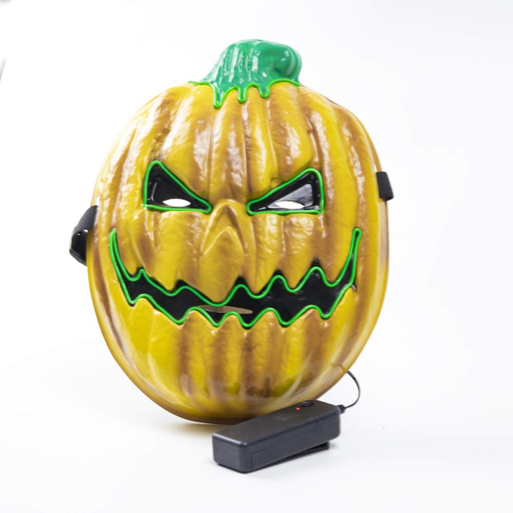 Ausein Halloween LED Mask, LED Pumpkin Mask Light Up Scary Mask for Festival Cosplay Halloween Costume Yellow