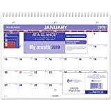 "AT-A-GLANCE 2019 Desk Calendar, Desk Pad, 8-1/2"" x 11"", Small, Wirebound (PM17028)"