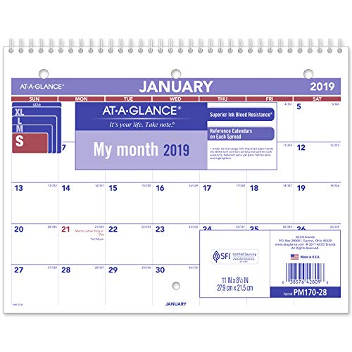 AT-A-GLANCE 2019 Desk Calendar, Desk Pad, 8-1/2