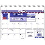 """AT-A-GLANCE 2019 Desk Calendar, Desk Pad, 8-1/2"""" x 11"""", Small, Wirebound (PM17028)"""