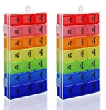 Rainbow Weekly Pill Organizer with Snap Lids| 7-day AM/PM | Detachable Compartments for Pills, Vitamin. (Rainbow 2pcs)