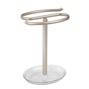 InterDesign Rain Toallero de pie para el lavabo   Secatoallas con bandeja para cosméticos y otros accesorios   Toallero con repisa para joyas, ...