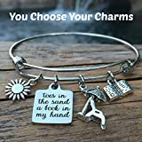 Toes in the Sand Book in my Hand Expandable Charm Bangle - Beach Lovers Bracelet - You Choose Charms