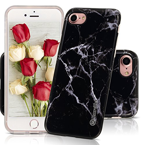 RareTel iPhone 7 iPhone 8 Case Marble Design - TPU Soft Slim Protective Cute Glossy Phone Covers For Girls Women - Clear Bumper IMD Skin Prevents Fading - Dust Proof Shockproof For Complete Protection
