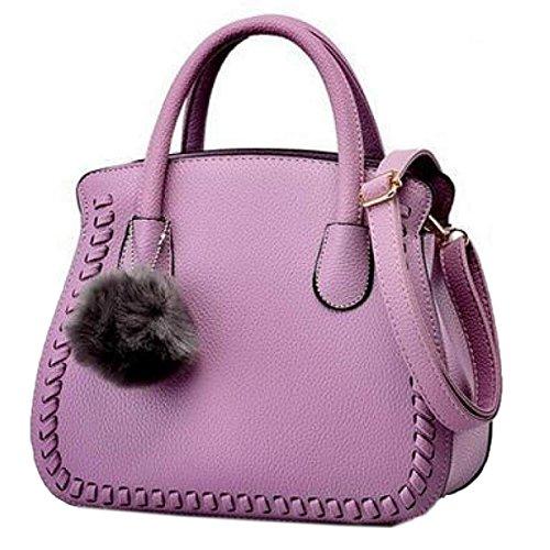 Wu Zhi Señoras PU mochilas Bolsos De Hombro Purple