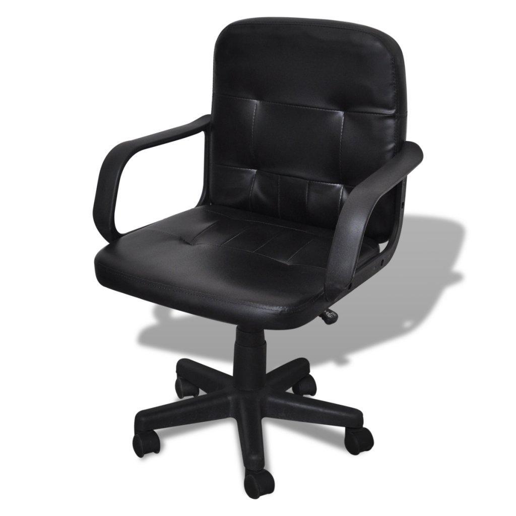 Festnight Ergonomic Leather Computer Desk Office Chair 360° Swivel Black