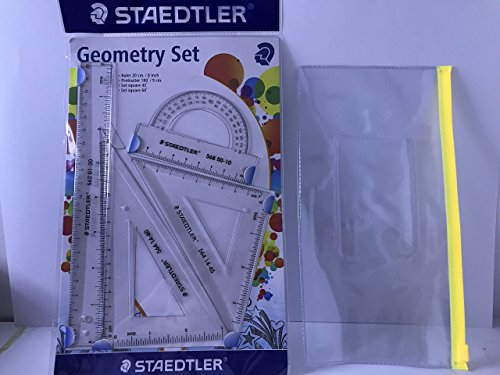 - Premium STAEDTLER Protractors Geometry Set with Classic Clear Pouch | Drawing and Measuring Tool