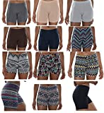 Sexy Basics Womens 12 Pack Buttery Soft Brushed Active Yoga Stretch Mini -Bike Short Boxer Briefs (12 Pack - CORE Solids & Tribal Prints, XXX-Large)