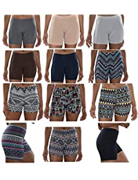 Sexy Basics Womens 12 Pack Buttery Soft Brushed Active Yoga Stretch Mini -Bike Short Boxer Briefs