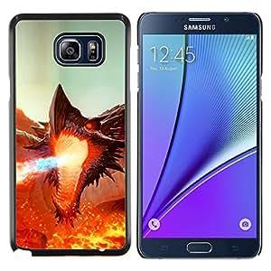 EJOOY---Cubierta de la caja de protección para la piel dura ** Samsung Galaxy Note 5 5th N9200 ** --Fierce Smaug Fire Dragon