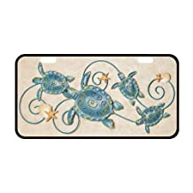 """New Arrival! Steel Sea Turtles And Star Fishes Turtle Strong And Durable Aluminum Car License Plate 11.8"""" x 6.1"""""""