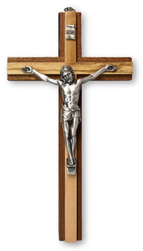 Crucifix 15, 2cm 15cm Jésus sur la croix en bois à suspendre religieuse chrétienne culte Symbole en acajou et en bois d'olivier dans une boîte cadeau Biblegifts
