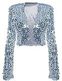 kayamiya Womens Shiny Sequin Long Sleeve Cropped Blazer Bolero Shrug S/US 0-4 Silver