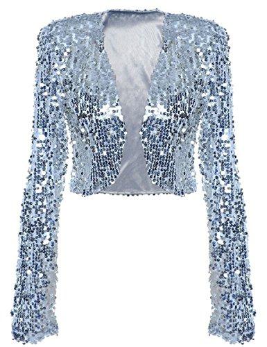 Sequin Embellished Jacket - kayamiya Women Sequin Jacket Long Sleeve Sparkly Cropped Shrug Clubwear M/US 6-8 Silver