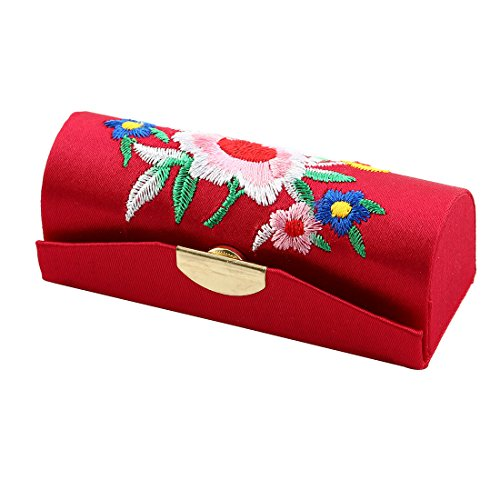 Embroider Button (uxcell Embroider Flower Press Stud Closure Flap Lipstick Case Holder Box Red w Mirror)