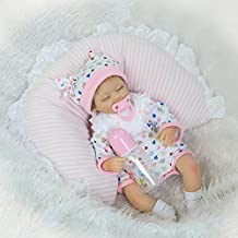 Soft Realistic Sleeping Reborn Nurturing Dolls 17 Inch Soft Silicone Born Babies Close Eyes Model Doll With Free Pacifier Gifts,17 Inches About 43Cm for Patients with Anxiety Disorder