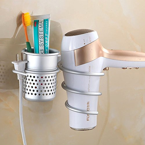Biowow Hair Blow Dryer Holder Wall Mount Hair Dryer Hanging Rack Organizer Bathroom Washroom Accessories organizer Shelf