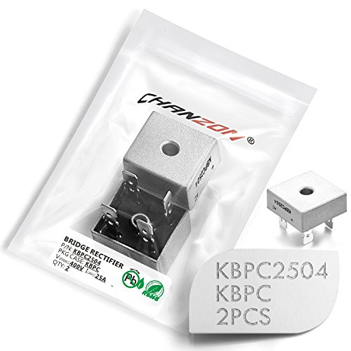 Silicon Bridge Rectifier ((Pack of 2 Pieces) Chanzon KBPC2504 Bridge Rectifier Diode 25A 400V KBPC Single Phase, Full Wave 25 Amp 400 Volt Electronic Silicon Diodes)