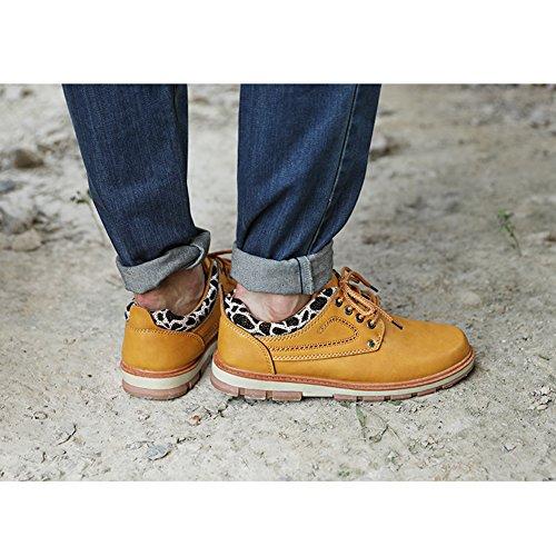 Hibote Chaussures Pour Hommes Casual Formelle Chaussures de Travail Bas Haut Bout Rond Cuir Chaussures à Lacet Pour Printemps Automne Jaune/Marron/Bleu/Noir
