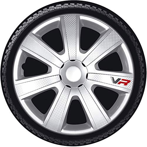AutoStyle PP5153B Set wheel covers VR 13-inch black//carbon-look//logo