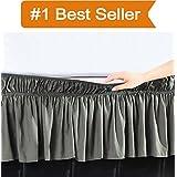 Elegant Comfort Luxury Wrinkle Resistant -Wrap Around Style- Elastic Bed Wrap Ruffled Bed Skirt 16inch Drop, Queen/King, Gray
