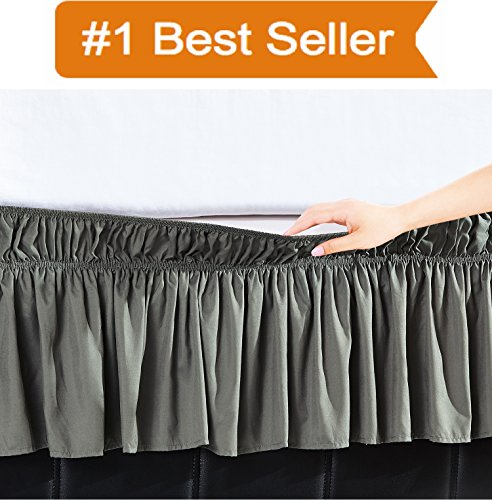 Ruffled Wrap Around - Elegant Comfort Luxury Wrinkle Resistant -Wrap Around Style- Elastic Bed Wrap Ruffled Bed Skirt 16inch Drop, Queen/King, Gray
