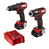 SKIL 2-Tool Kit: PWRCore 12 Brushless 12V 1/2 Inch Cordless Drill Driver and 1/4 Inch Hex Impact Driver, Includes Two 2.0Ah Lithium Batteries and One Standard Charger - CB738501