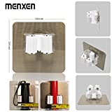MENXEN Broom Mop Holder, Broom Gripper Holds Self Adhesive Reusable No Drilling Super Anti-Slip, Wall Mounted Storage Rack Storage & Organization for Your Home, Kitchen and Wardrobe (4 Pack)