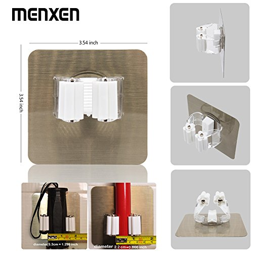MENXEN Broom Mop Holder, Broom Gripper Holds Self Adhesive Reusable No Drilling Super Anti-Slip, Wall Mounted Storage Rack Storage & Organization for Your Home, Kitchen and Wardrobe (4 Pack) by MENXEN (Image #1)
