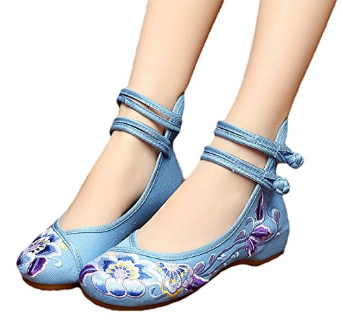 Avacostume Mujeres Embroidery Tobillera Belts Dancing Mary Jane Zapatos Blue