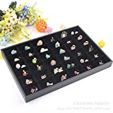 Wuligirl Removable 36 Grid Jewelry Tray Showcase Display Stackable for Earrings Brooch Buttons Rings, Black Velvet (36 Grid Jewelry Tray)