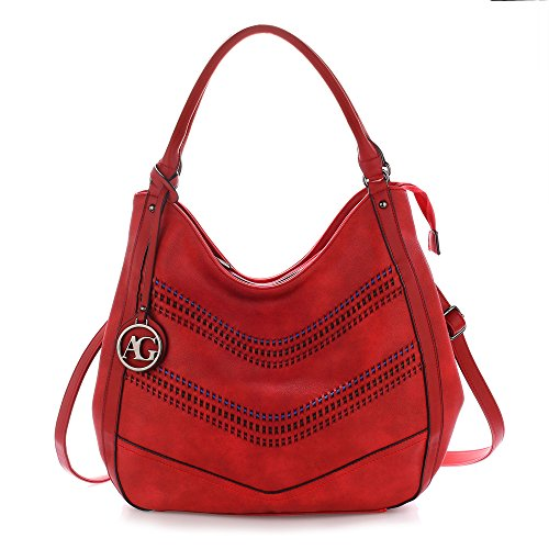 Faux Designer Bag Handbag Tote Ladies Womens Hobo Leather Red Shoulder RXq1qav0