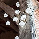10 White LED Solar Chinese Lantern String Lights