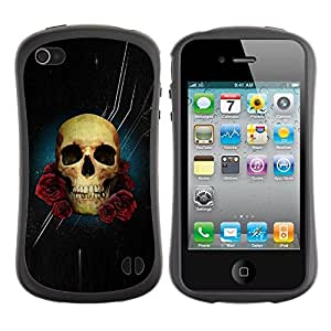 Fuerte Suave TPU GEL Caso Carcasa de Protección Funda para Apple Iphone 4 / 4S / Business Style Skull Rose Night Space Death Stars