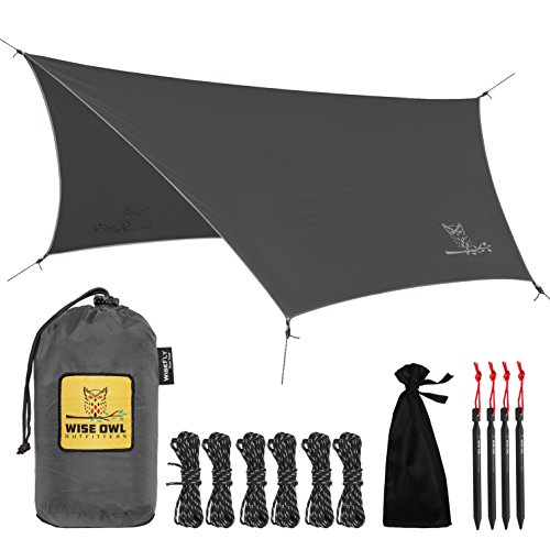 Wise Owl Outfitters Rain Fly Tarp – The WiseFly by Premium 11 x 9 ft Waterproof Camping Shelter Canopy – Lightweight Easy Setup for Hammock or Tent Camp Gear - Charcoal Grey & Light Grey Kelty Sunshade Large Accessory