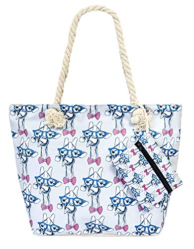 Tote Bag with Coin Purse and with Cotton Rope Handle - Giraffe Rope