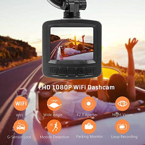 Pathinglek Dash Cam 1080P Full HD WiFi Dash Camera for Cars Mini Dashboard Camera 2 inches LCD, Night Vision, G-Sensor, 170 Wide Angle, Motion Detection