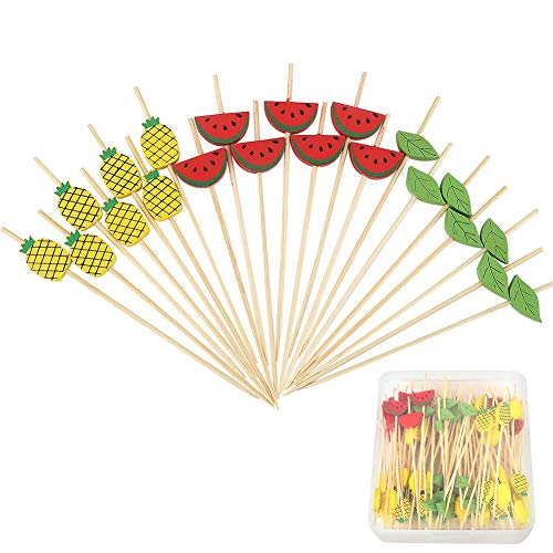 (Cocktail Picks Long Bamboo Appetizer Toothpicks Watermelon Pineapple Fruit Shape Skewer for Anniversary Birthday Wedding Party Drinks Food 4.7